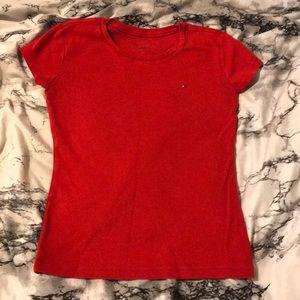 red tommy hilfiger shirt